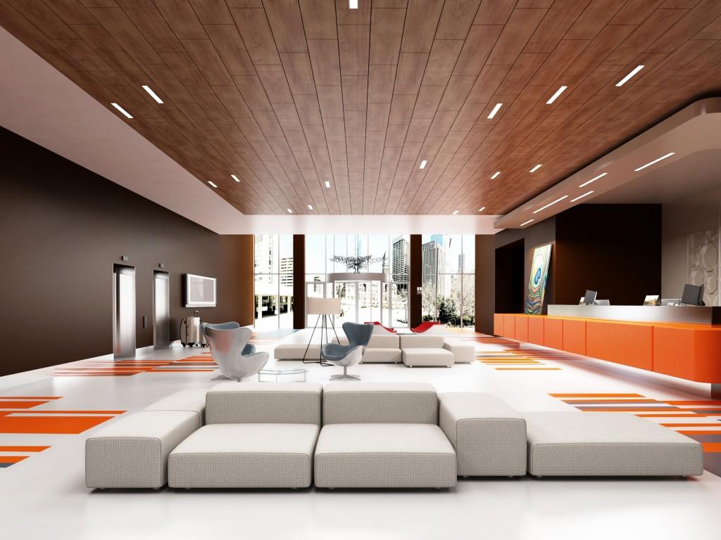 photo d'une réalisation plafond bois armstrong