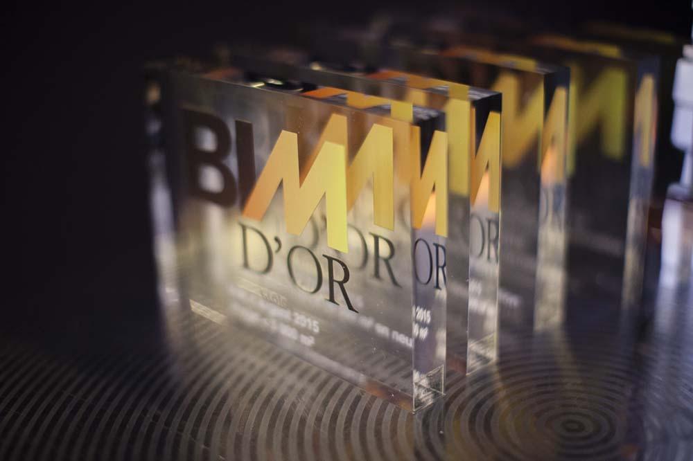 Trophées BIM d'Or, lors de la cérémonie des BIM d'Or 2015 organisée par Le Moniteur à l'Elysée Biaritz, Paris, France, 2015.
